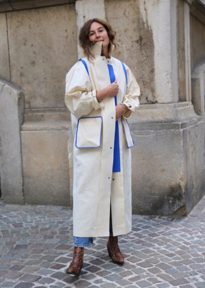 Reversible wax trench cape coat in white/electric blue by KASSL editions