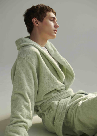 Unisex bathrobe (available in mint and white) by Tekla Fabrics