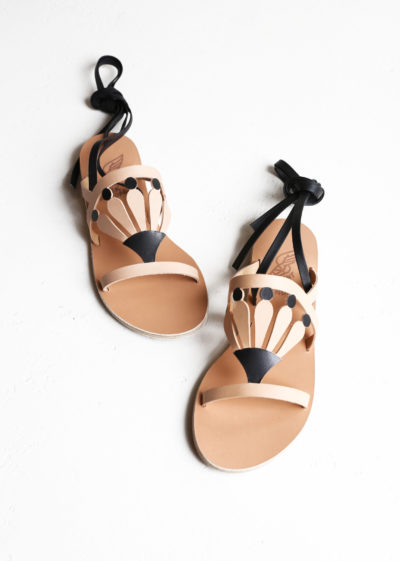 Natural black lily sandals by Ancient Greek Sandals