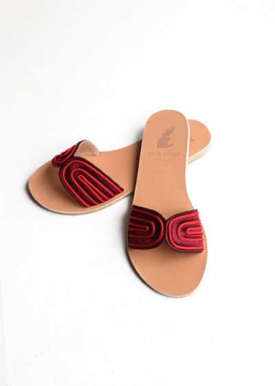 Red harness slide sandals by Ancient Greek Sandals
