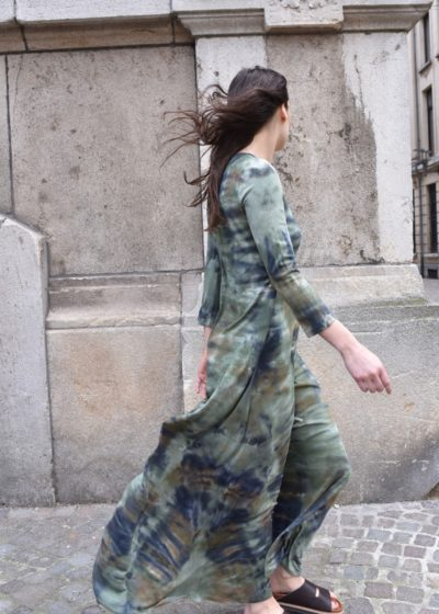 Army maxi drama dress by Raquel Allegra