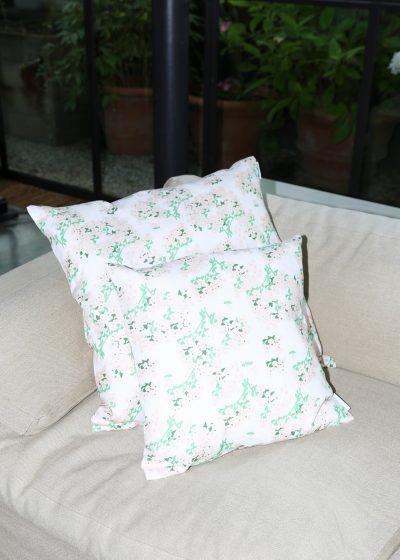 Large 'Pink Hortensia' linen pillow by Bernadette