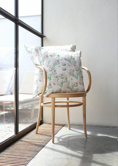 'Pink Hortensia' linen pillow by Bernadette