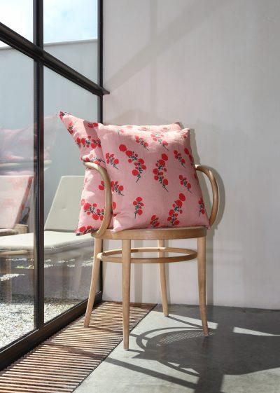 Large 'Red Blossom' linen pillow by Bernadette