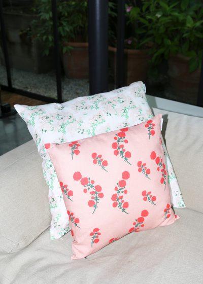 'Red Blossom' linen pillow by Bernadette