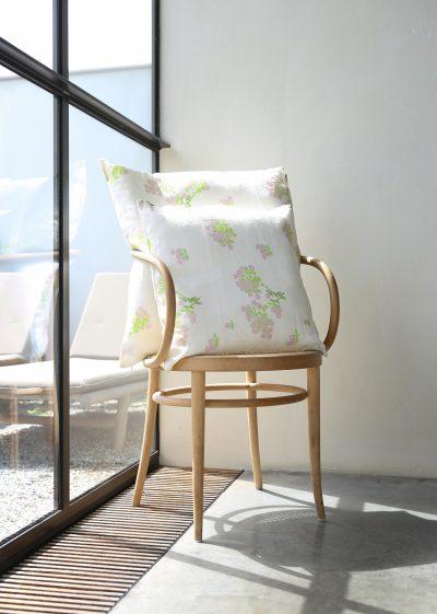 Large 'Romantic Cream' linen pillow by Bernadette
