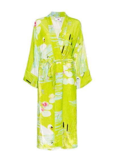 'Green Swan' silk velvet peignoir by Bernadette