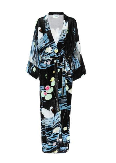 'Black Swan' silk velvet peignoir by Bernadette