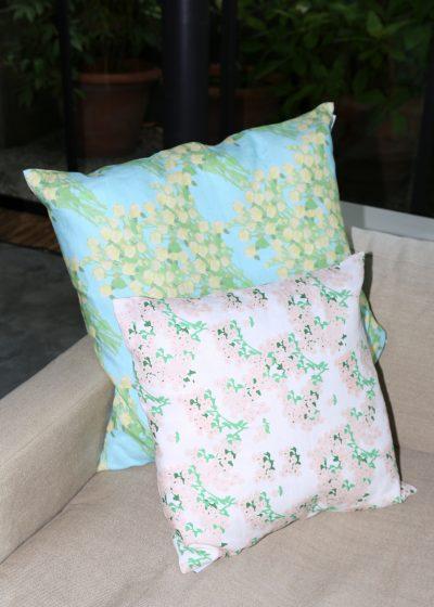 Large 'Yellow Bouquet' linen pillow by Bernadette