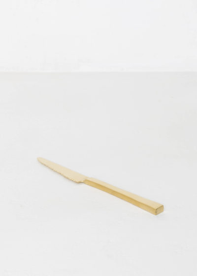 Table knife brushed brass by Maarten Baas for valerie_objects
