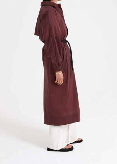 Long fluid nylon coat (burgundy) by KASSL editions