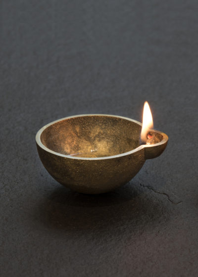 'Diya' brass oil lamps (set of 2 large) by Case Goods