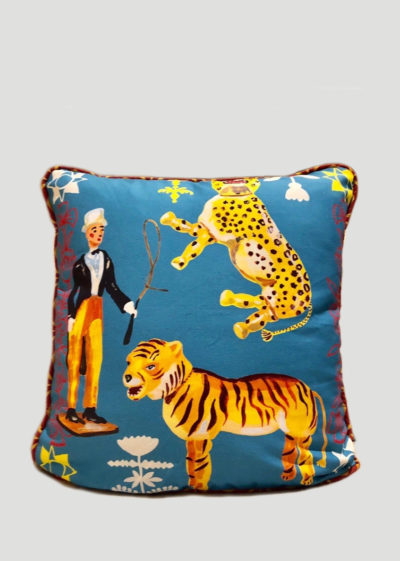 Circus pillow cover (available in white and blue) by Nathalie Lété x Design Farm Productions