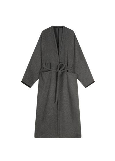 V-wrap wool coat (grey) by KASSL editions