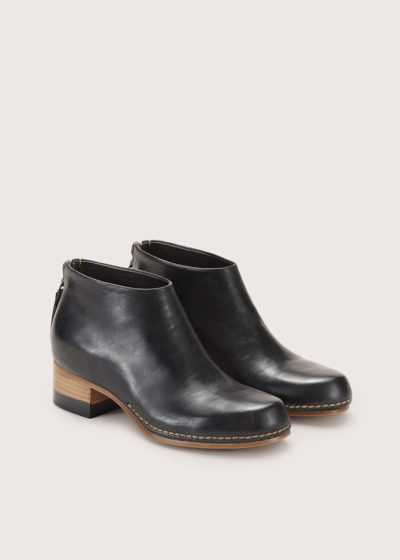 Bi-color ceremonial mid-heel mule by Feit