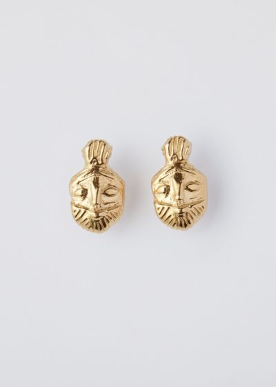 Gold plated 'Bes' studs by Lucy Folk
