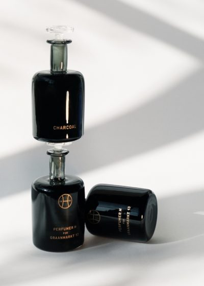 Charcoal hand blown bottle by Perfumer H