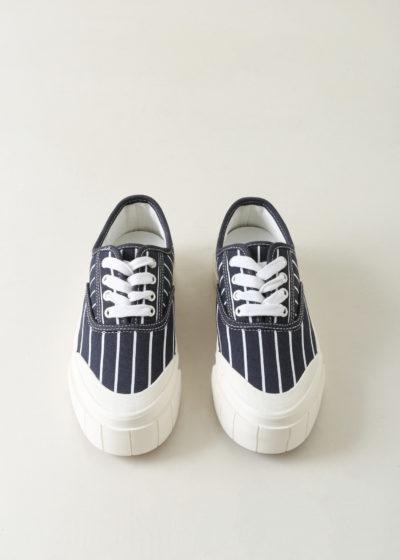 'Hurler' sneaker in striped navy by Good News