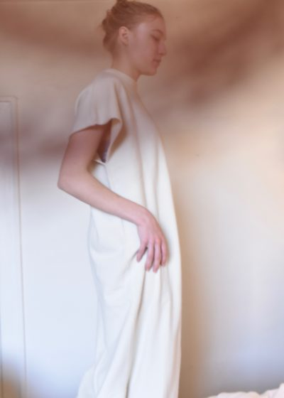 Healing Cashmere Knitted Dress in Cream by Extreme Cashmere