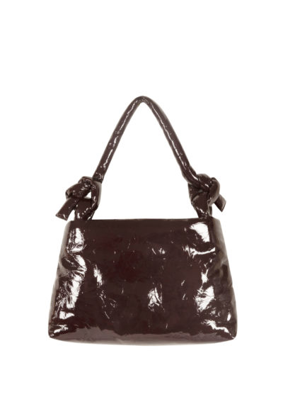 Leather lady bag in lacquered wine by KASSL editions