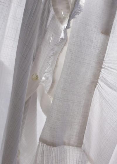 Shirred button down blouse by Raquel Allegra