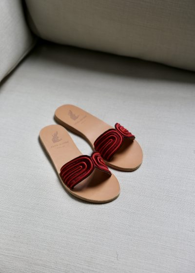 Red harness sandals by Ancient Greek Sandals