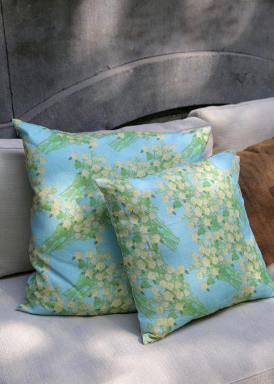 'Yellow Bouquet' linen pillow by Bernadette