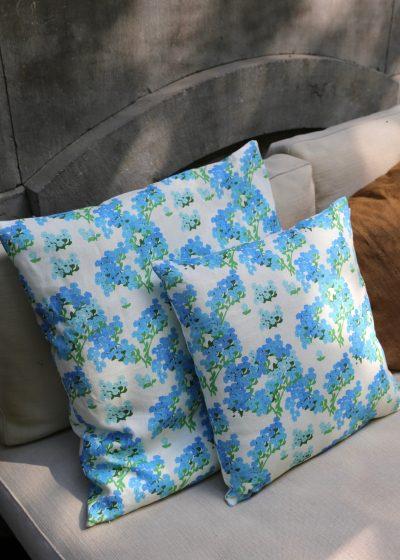 'Blue Hortensia' linen pillow by Bernadette