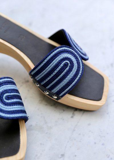 'Blue Harness' clog sandals by Ancient Greek Sandals