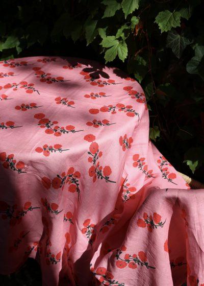 'Red Blossom' linen tablecloth by Bernadette