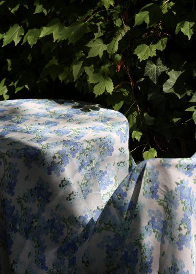 'Blue Hortensia' linen tablecloth by Bernadette
