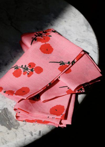 'Red Blossom' linen napkins (set of 6) by Bernadette