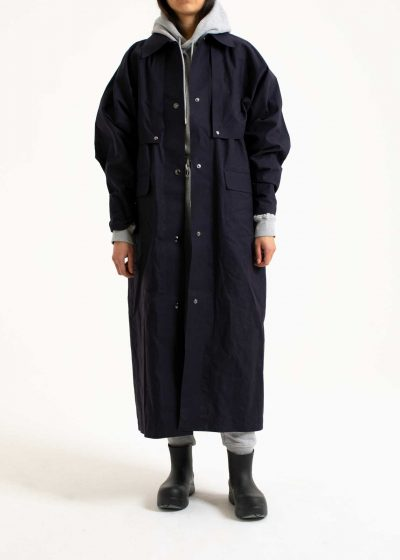 Cape coat long in wax indigo by KASSL editions