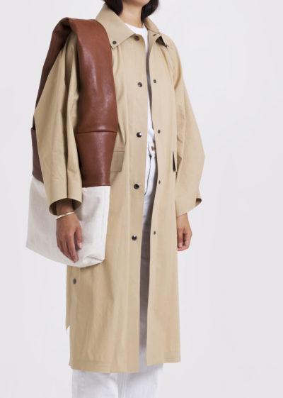Bag Monk Medium Soft Leather Cognac Canvas White by KASSL editions