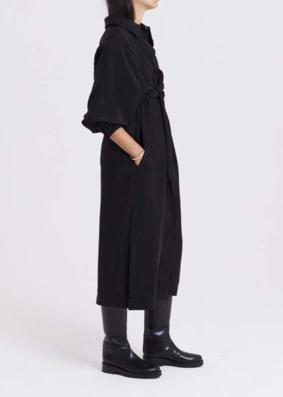 Coat Fluid Drawstring Cupro Black by KASSL editions