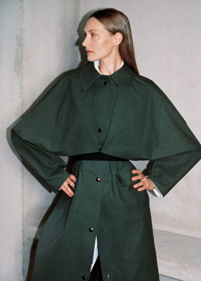 Reversible wax trench cape (green olive) by KASSL editions