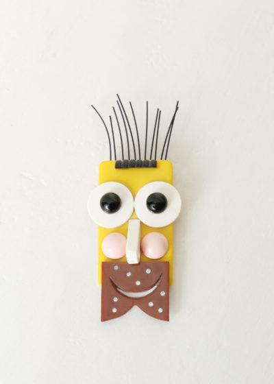 Yellow beard man brooch by Jacqueline Lecarme