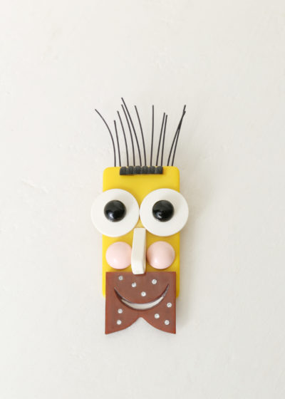 Yellow beard man brooch by Jacqueline Lecarme
