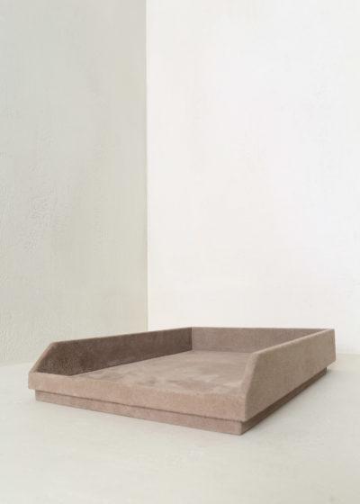 Suede postal tray by Michaël Verheyden