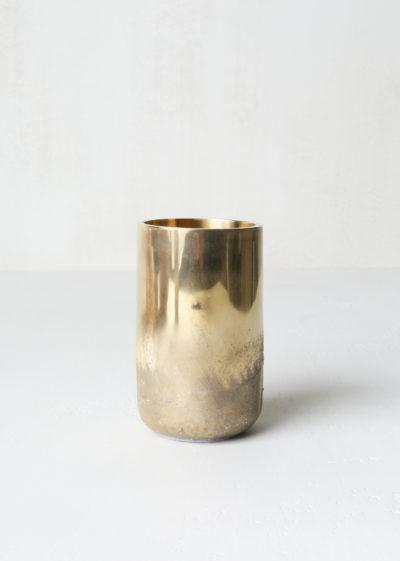'Soli' vase (polished/rough brass) by Michaël Verheyden
