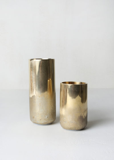 High 'Soli' vase (polished/rough brass) by Michaël Verheyden