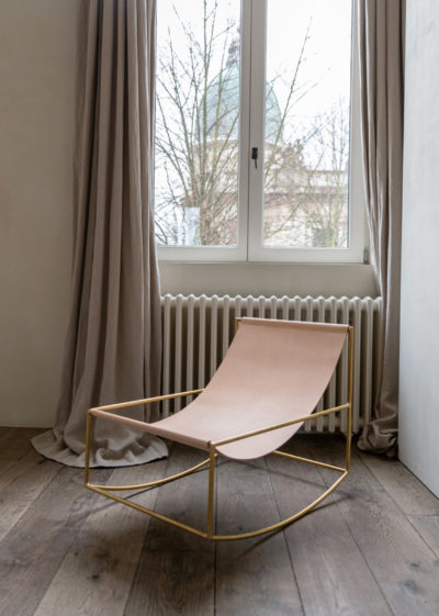 Leather rocking chair with brass frame by Muller van Severen for valerie_objects