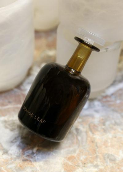 Orange leaf hand blown bottle by Perfumer H