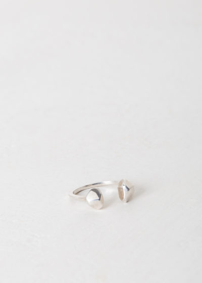 Double studded silver ring