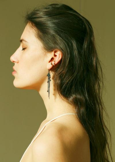 Sterling silver silk ox pearl earrings by Stephanie Schneider