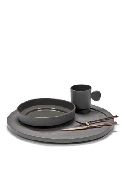 High asymmetrical plate (available in two colours) by Maarten Baas for valerie_objects