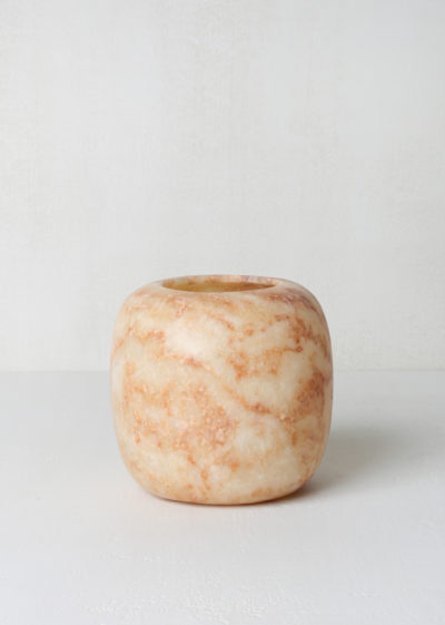 Medium tea light holder (brown alabaster) by Alabaster Tea Lights