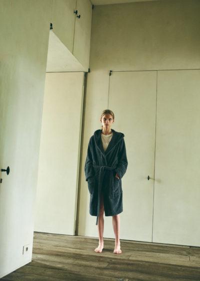 Hooded bathrobe in Ash Black by Tekla Fabrics