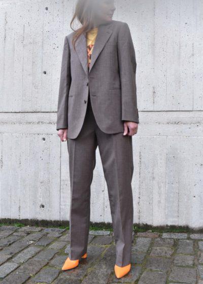 Wool slacks in brown by Auralee