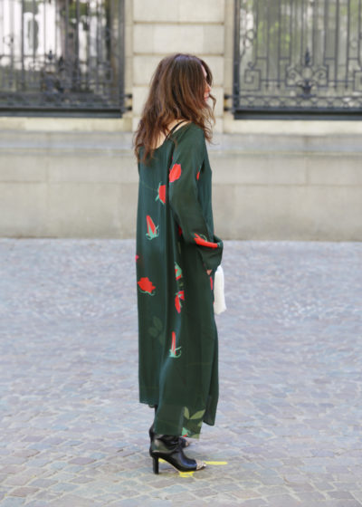 Silk floral dress with red roses by Bernadette